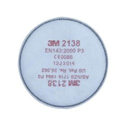 3M Particulate Filter 2138 Toxic Particulates, Nuisance Level Acid Gases and Organic Vapours with Low Vapour Pressure GP2