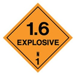 Explosive 1.6 Safety Sign
