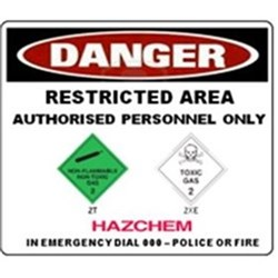 Danger Restricted Area Hazchem Safety Sign