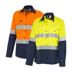 WS Workwear Ripstop Womens Hi-Vis Button-Up Shirt with Reflective Tape