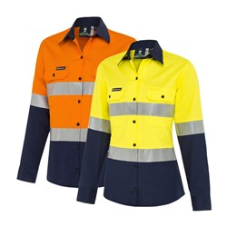 WS Workwear Koolflow Womens Hi-Vis Button-Up Shirt with Reflective Tape