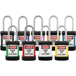 Master Zenex Safety Padlock S/Steel Shank- Red