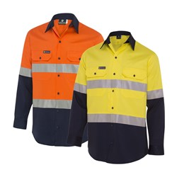 WS Workwear Mens Hi-Vis Button-Up Shirt with Reflective Tape