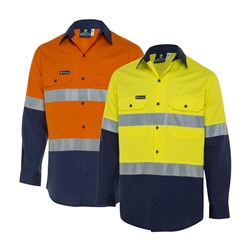 WS Workwear Koolflow Mens Hi-Vis Button-Up Shirt with Reflective Tape