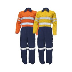 WS Workwear Mens Hi-Vis Fire Retardant Overall with Reflective Tape