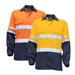 WS Workwear Hi-Vis Fire Retardant Button-Up Shirt with Reflective Tape