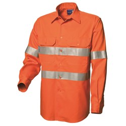 WS Workwear Mens Hi-Vis FR Button-Up Shirt with Reflective Tape