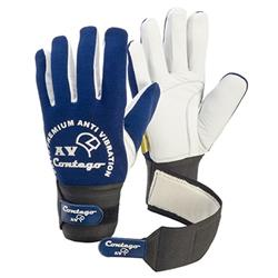 Frontier Blue/White Cuff With Grip Tab Anti Vibration Contego Glove