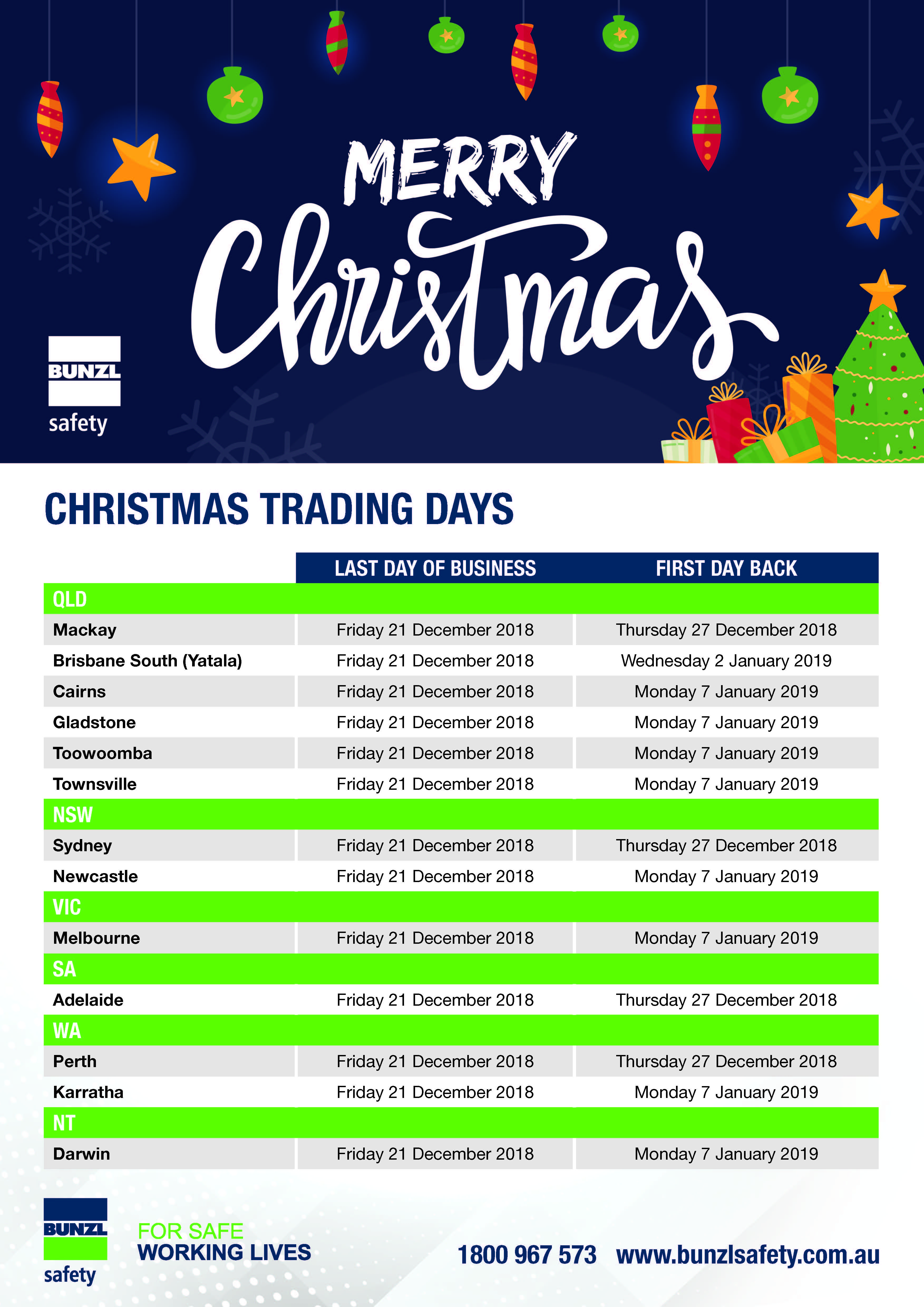 Bunzl Safety Christmas Trading Days 2018