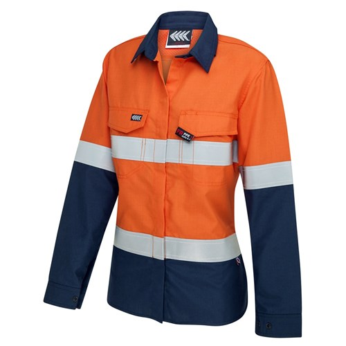 Boomerang Womens Hi-Vis FR Button-Up Shirt with Reflective Tape PPE2